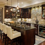 Standard Bar Stool Height for Traditional Home Bar with Dark Wood Cabinets