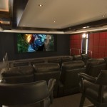Stony Brook Theater for Contemporary Home Theater with Ceiling Treatment