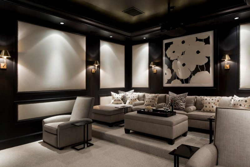 Stony Brook Theater for Traditional Home Theater with Sectional Couch