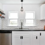 Subway Tile Patterns for Eclectic Kitchen with Decorative Cabinet Hardware