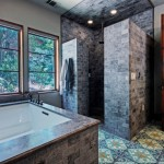 Subway Tile Patterns for Mediterranean Bathroom with Shower Enclosure