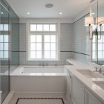 Subway Tile Patterns for Transitional Bathroom with Alternating Tile