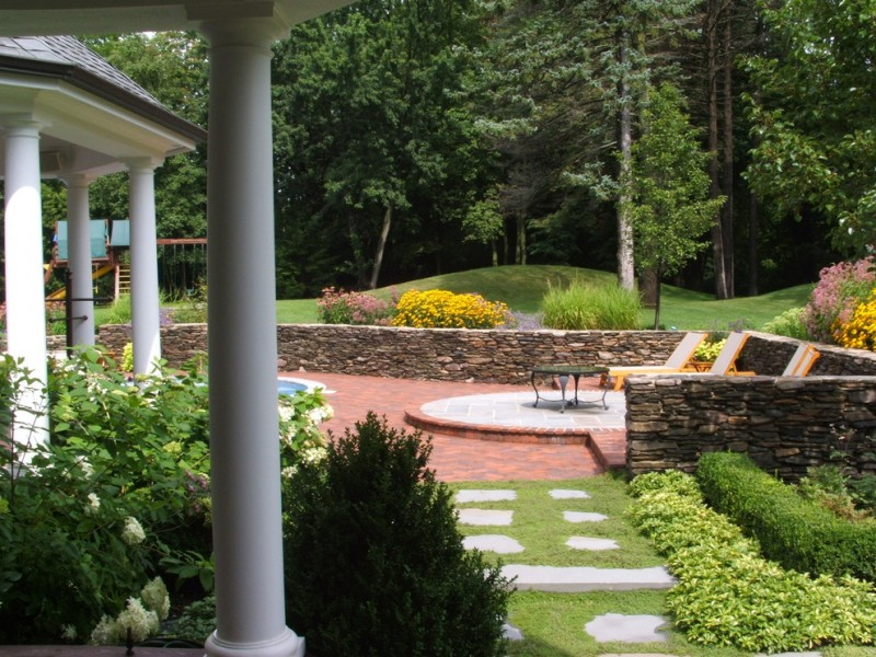 Sunset Hills Golf Course for Traditional Landscape with Stacked Stone