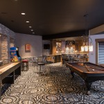 Table Shuffleboard Rules for Contemporary Basement with Painted Ceiling