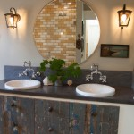 Tankless vs Tank Water Heater for Eclectic Bathroom with Drop in Sinks