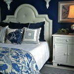 Tardis Blue Paint for Beach Style Bedroom with Leather Headboard