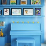 Tardis Blue Paint for Eclectic Family Room with Wall Shelves