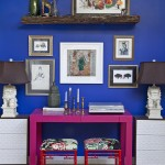 Tardis Blue Paint for Eclectic Home Office with Art