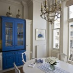Tardis Blue Paint for Traditional Kitchen with Kitchen Table