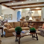 T&d Furniture for Traditional Family Room with Ceiling Beams