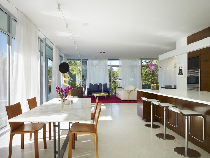 Terrazzo and Marble for Contemporary Dining Room with Ceiling Lighting