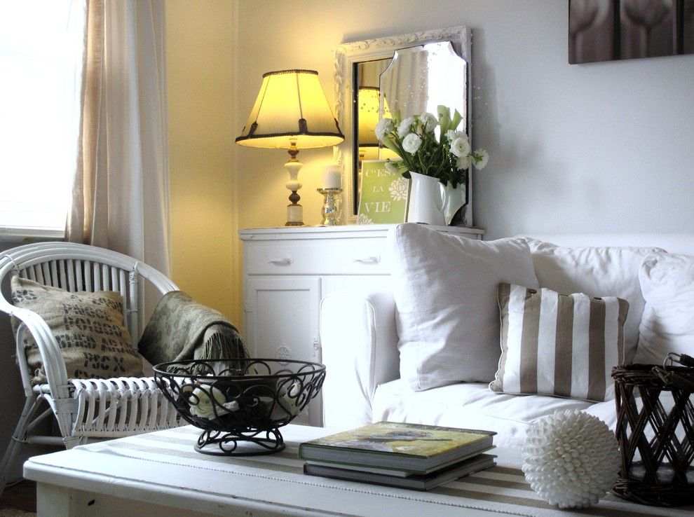 Texas Casual Cottages for Shabby-Chic Style Living Room with White Sofa