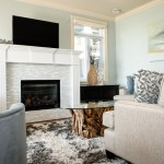 Tiled Fireplaces for Beach Style Living Room with White Fireplace Mantel