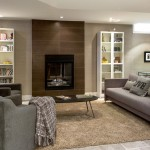 Tiled Fireplaces for Contemporary Basement with Gas Fireplace