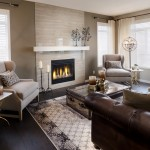 Tiled Fireplaces for Contemporary Living Room with Beige Curtain