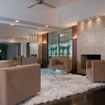 Tiled Fireplaces for Modern Family Room with White Shag Rug