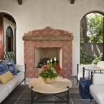 Tiled Fireplaces for Southwestern Porch with Spanish Tile