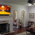 Tiled Fireplaces for Transitional Family Room with Home Theatre Seating
