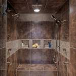 Tiled Shower Ideas for Contemporary Bathroom with Brown Tile Shower
