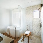 Tiled Shower Ideas for Contemporary Bathroom with Pebble Tile
