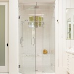 Tiled Shower Ideas for Traditional Bathroom with Frameless Shower Door