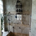 Tiled Shower Ideas for Transitional Bathroom with Brown Deco Tile