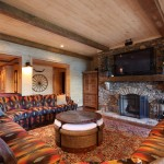 Timberlake Furniture for Rustic Family Room with Wood Ceiling