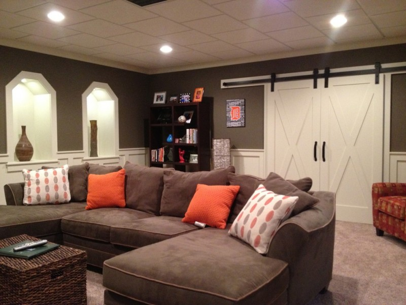Timberland Homes for Traditional Basement with Acoustical Ceilings