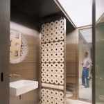 Toilet Paper Holder Height for Contemporary Powder Room with Screen