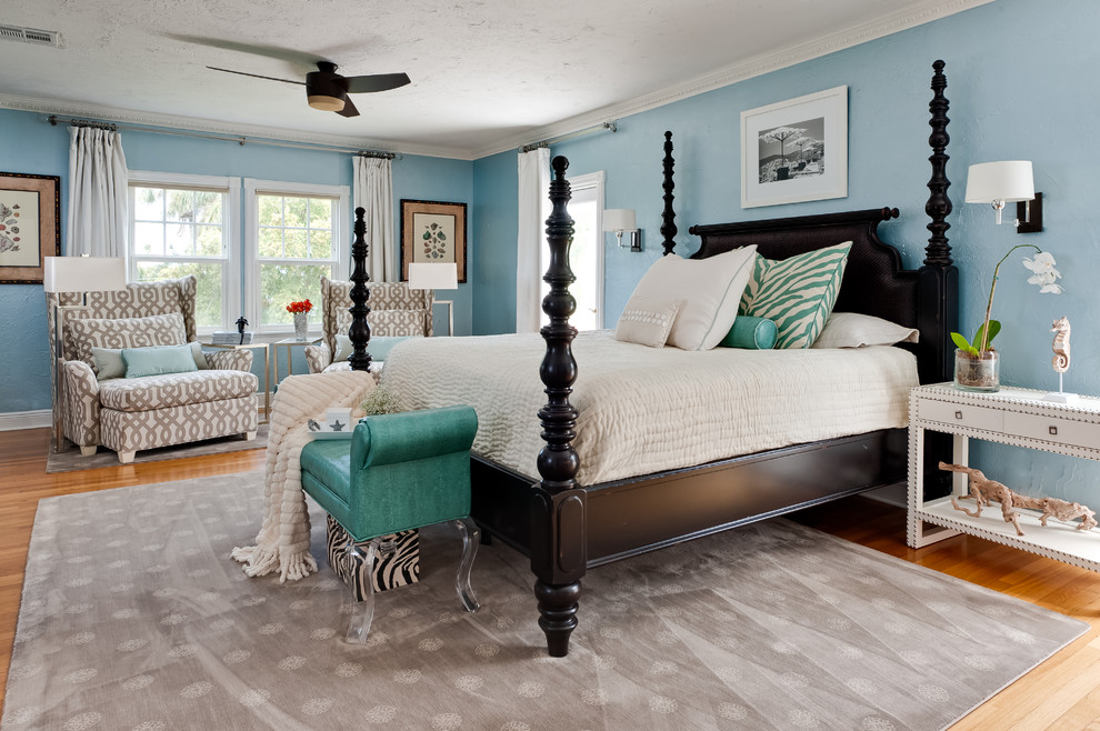 Tommy Bahama Palm Desert for Contemporary Bedroom with Turquoise Bench