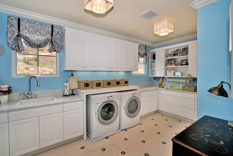 Top Load vs Front Load Washing Machine for Contemporary Laundry Room with Marble Countertops