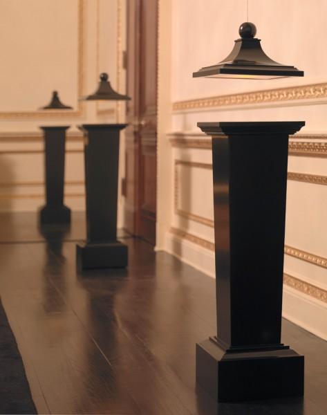 Torchere for Traditional Spaces with Lacquer