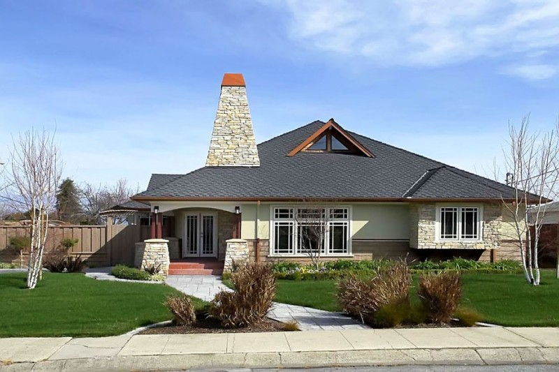 Triange for Contemporary Exterior with Wood Siding