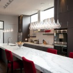 Triangle Bulbs for Contemporary Kitchen with Open Shelving