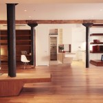 Tribeca Salon for Modern Living Room with Wood Paneling