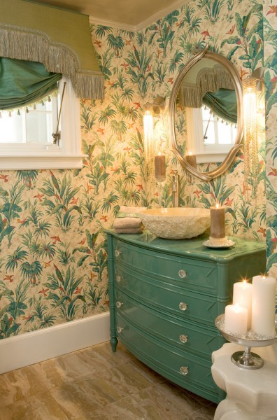 Unclaimed Freight Furniture for Tropical Bathroom with Wall Sconces