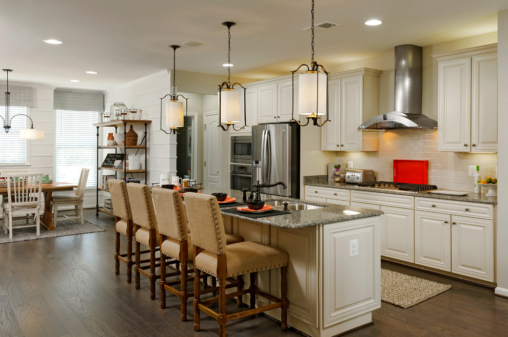Van Metre Homes for Traditional Kitchen with Upholstered Bar Stools
