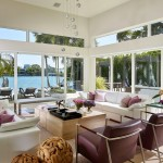 Venetian Causeway for Contemporary Living Room with Clerestory Windows