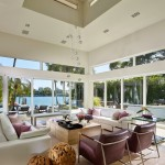 Venetian Causeway for Contemporary Living Room with Powder Room