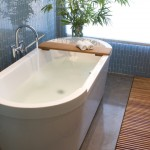 Vertical Bathtub for Contemporary Bathroom with Glass Tile
