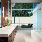 Vertical Bathtub for Contemporary Bathroom with Two Sinks