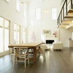 Vinyl vs Laminate for Farmhouse Dining Room with Fireplace