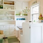 Vinyl vs Laminate for Shabby Chic Style Kitchen with White Banquette