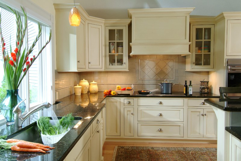 Vortex Doors for Traditional Kitchen with Black Counter