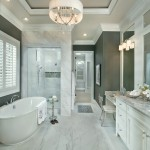 Voss Lighting for Transitional Bathroom with White Shutters