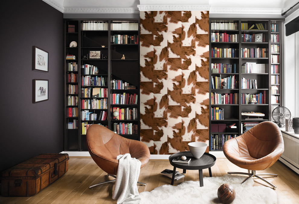 Wallauer for Transitional Family Room with Leather Chairs