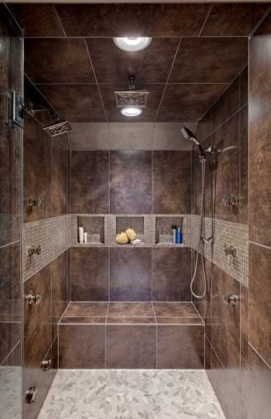 Wallington Plumbing Supply for Contemporary Bathroom with Brown Tile Shower