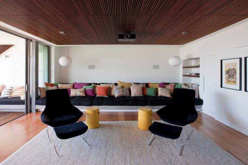 Walter Knoll for Contemporary Family Room with George Nelson Bubble Lamps
