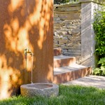 Water Spigot for Contemporary Patio with Pots