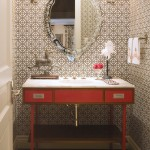 Waterworks Denver for Traditional Powder Room with Wallcoverings